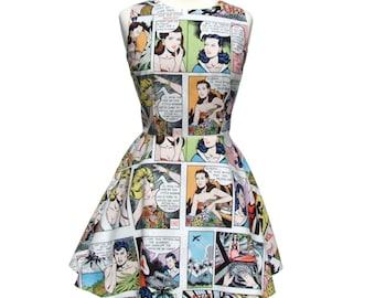 SUPER SALE!! Comic Strip Lt White  Skater Dress