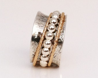 Meditation Ring, Sterling Silver Ring, Mixe Metal, Silver and Gold Ring, Silver Band, Stacking Ring, Artisan Jewelry
