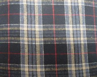 """Black & Tan Plaid Flannel, Yarn-Dyed Flannel, Cotton Flannel Fabric, 56"""" Wide, BTY or Half Yard"""