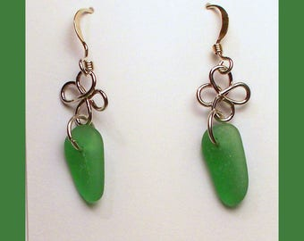 MAINE SEAGLASS EARRINGS - Handcrafted Sterling Silver Dangle Earrings - Made In Maine