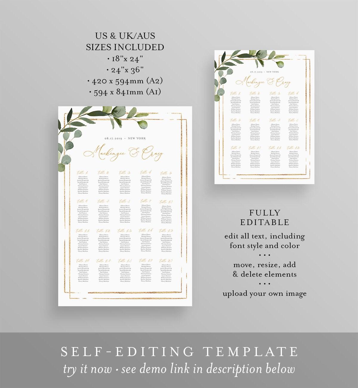 Printable Seating Chart Template, Wedding Seating Sign