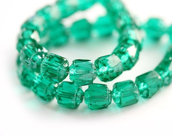 6mm Teal green cathedral czech glass beads, round, fire polished - ocean color - 6mm - 20Pc - 0100