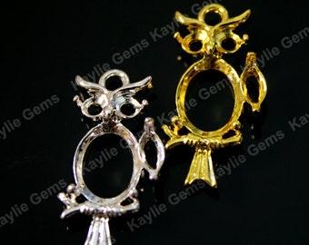 Cute Owl Hoot Charm Pendant Jewel Stone Setting for 8x10mm Gold Silver - 2pcs