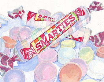 Smarties Candy Watercolor Art Print - Watercolor Painting - 8x10 Wall Art, Candy Series no. 1
