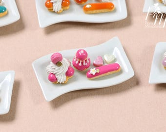Classic French Pastries/Desserts on Plate - St Honoré, Religieuse, Eclair - Raspberry Selection - Miniature Food for Dollhouse 12th scale