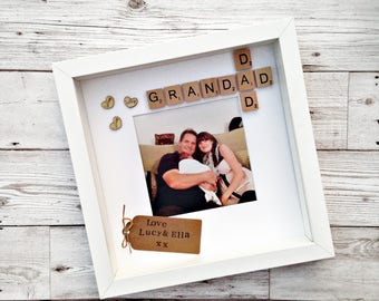 Dad & Grandad personalised scrabble frame with free photo printing. A lovely unique gift for daddy and grandpa which can be customised.