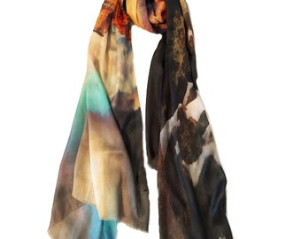 Mother's Day Grand Canyon Scarf,  Photo Scarf printed on Model