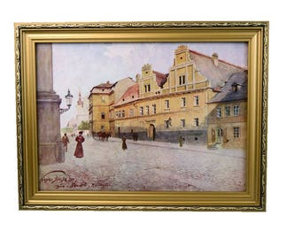 "V. Jansa (Czech) Print Photo-Chromotype  Old Prague ""Salku House in Resslova Street"" Signed Framed Vintage 1900-1910"