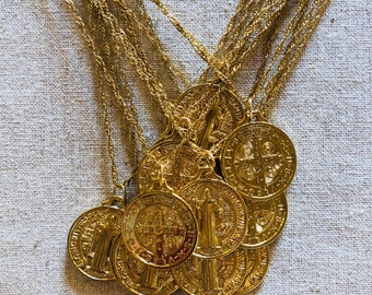 """saint benito 18"""" gold filled pendant and chain"""