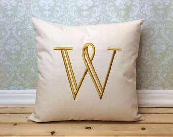 Letter Pillow Cover, Embroidered Initial, Personalized Home Decor, Custom  Embroidered Pillow, Anniversary