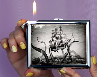 Cigarette case Octopus Attacking Ship  Chrome Lighter unusual lighters Lighter