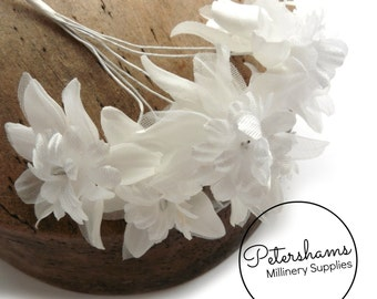 Vintage 1960's-80's Organza & Satin Millinery Flowers Bunch of 6 - White