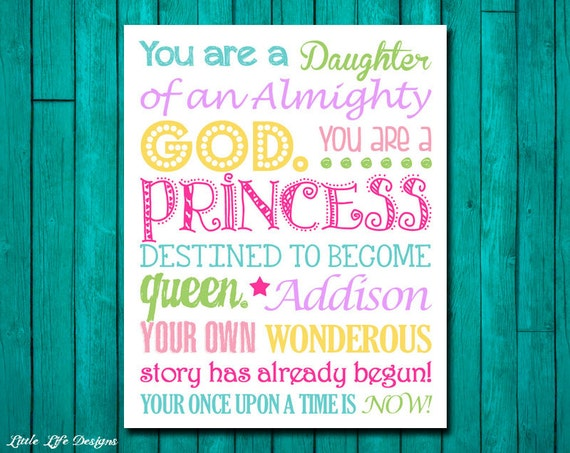 Children S Party Box Wall Art For Girl S Bedroom: Child Of God. Princess Sign. Daughter Of A King. Personalized