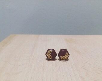 Arrow Hexagon earrings, Boredeaux earrings, Stud earrings,Resin earrings