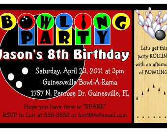 Bowling Birthday party invitations - DIY - INSTANT DOWNLOAD ~ Printable Digital File