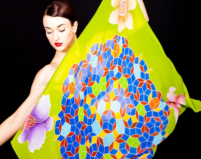 Hand painted crystal mandala silk scarf with orchids.