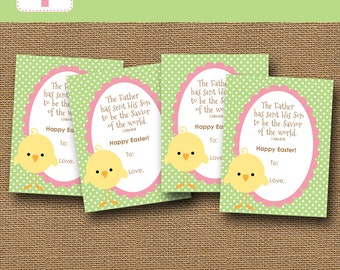 Easter card kids etsy printable kids easter card easter chick card diy printable scripture bible verse m4hsunfo Image collections