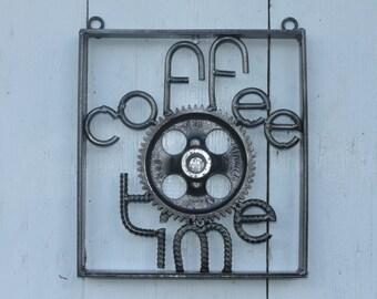 coffee time sign, man cave decor, rebar metal art, gear art
