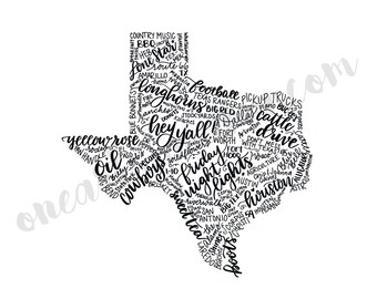 Hand Lettered Texas State Art - DIGITAL DOWNLOAD