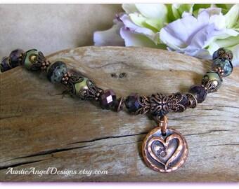 Paw print in heart bracelet, copper paw print bracelet, paw print on my heart jewelry, heart dog bracelet, heart cat bracelet, pet memorials