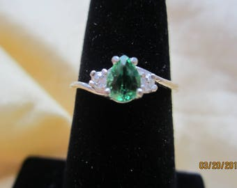 Delicate Natural Vibrant Green Tsavorite Garnet  Sterling Ring Size 7 with accents.