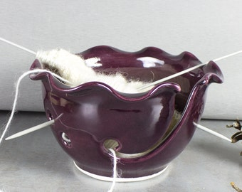 Ceramic Yarn Bowl, Knitting Bowl, Craft tool, diy Wheel thrown eggplant Marsala purple modern BlueRoomPottery MADE TO ORDER