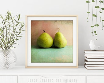 """Food Photography - Green Pear Art - Fruit Still Life - Kitchen Wall Art - Pink Aqua Blue - Retro Style  """"Two Pears"""""""