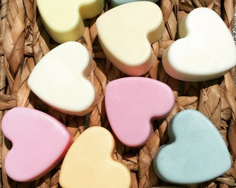 Small Heart Shaped Soaps - Quantity of 4, Soap Favors, Heart Soap, Homemade Soap, Handmade Soap, Heart Soaps, Goat Milk Soap