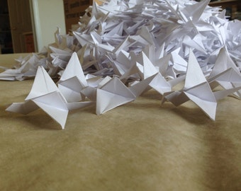 1000 White Origami Cranes - For Weddings
