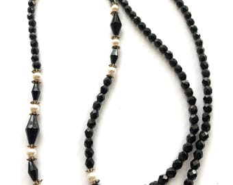 Vintage Napier Black Faceted Beaded Necklace with Faux Pearl and Silver Accents 35 Inches Long