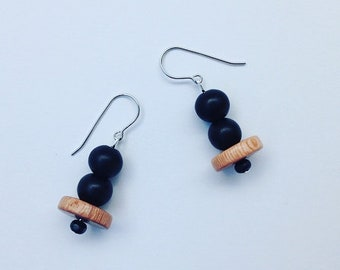 Handmade Wooden Surgical steel Drop Earrings - Black and Tan