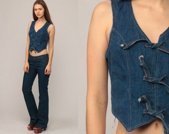 Denim Vest Top 70s Vest Jean Shirt Crop Top Sleeveless Jean Jacket Boho Vest Blue Bohemian Vintage Hipster Waistcoat Extra Small xs
