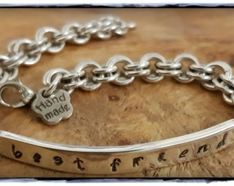 Silver Bracelet, Stamped Sterling Silver Bracelet, Best Friend, Handmade, Recycled Silver, 925 Silver, Handcrafted, Eco-friendly.