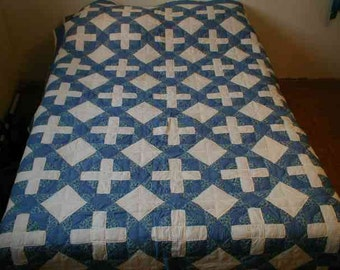 Hand stitched double cross patchwork quilt