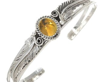 Navajo Citrine Silver Ladies Bracelet Leaf and Swirl Design Cuff