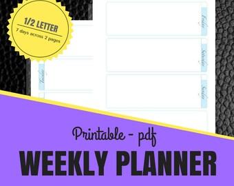 Weekly Planner Printable, Half Letter Size, Planner Insert, Agenda