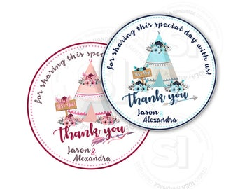 """Custom Stickers Baby Shower Thank you Teepee Theme Stickers-tags- It's a Boy or Girl Thank you 2.5"""" Stickers"""