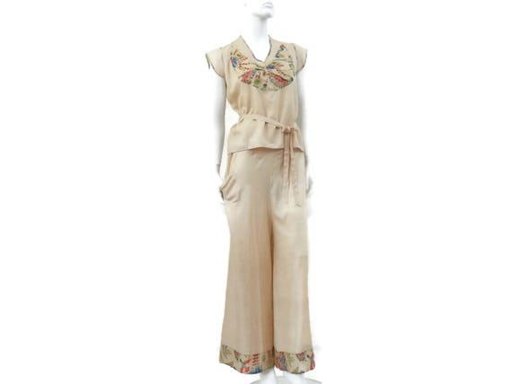 Wide Blouse Leg Tags Flapper Lounge w Original Deco Silk Pongee Outfit Art Pants Raw w Awq0zv1