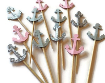 Baby Girl Anchor Cupcake Toppers, girl baby shower, 1st birthday, pink and grey, anchor die cut, food picks, party picks, shower decorations