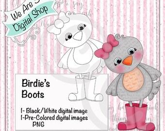 We Are 3 Digital Shop, Birdie's Boots, Bird, Rain Boots