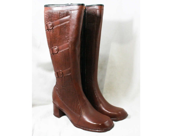 Deadstock 3 Fleece Rubber Buckles 43295 Sophisticated Trompe Brown L'Oeil Faux Waterproof Unworn 6 1960s 60s Boots Size Lined UpqFTq