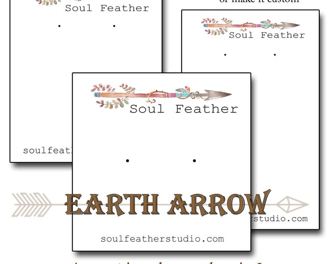 EARTH ARROW•Custom Tags•Labels•Earring Display•Clothing Tags•Custom Hang Tags•Boutique Card•Tags•Custom Tags•Custom Labels