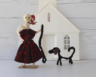 Vintage Chenille Pipe Cleaner Figure with Leash and Dog, Vintage Pipe Cleaner Art