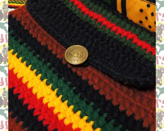 Rasta Knitted Bag Pochette Made in Ethiopia  lion of judah button reggae africa dub roots