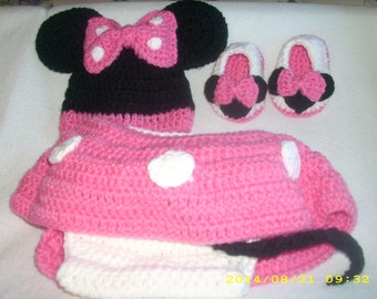 Hand Crocheted Minnie Mouse Outfit