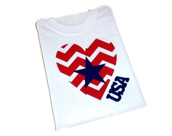 Iron on Heart Applique, DIY Patriotic Design, USA T Shirt, Red White and Blue, Girls 4th of July Applique. Iron on Patch, DIY Gift for Girls
