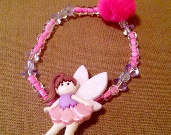 Little Girl Bracelets with Flower Fairies or Gymnastic Doll button.