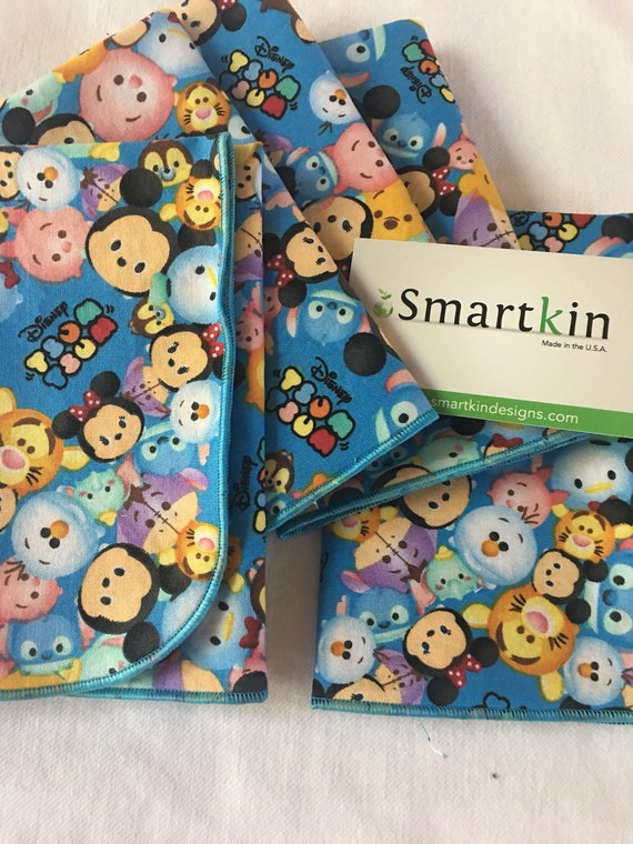 Tsum Tsum Disney Blue All Cotton Lunch Box Cloth Napkin 12x15 in Size by Smartkin