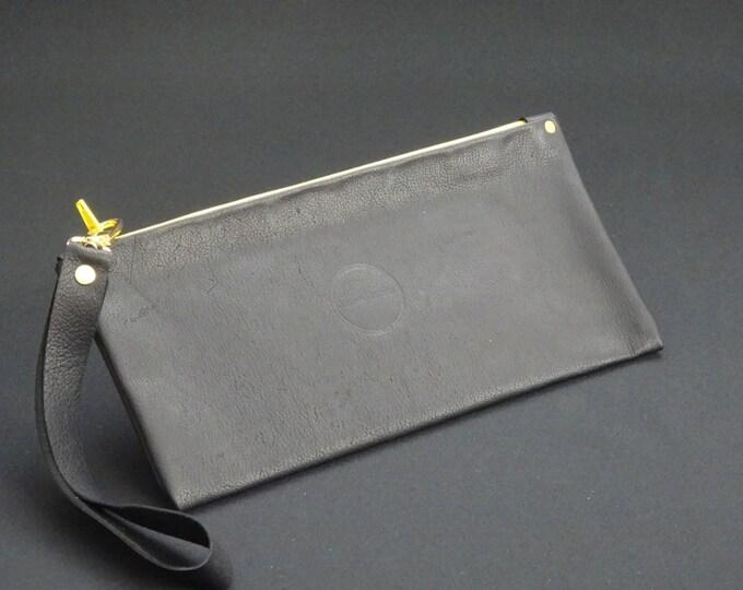 James Zip Purse - Genuine Kangaroo Leather Zip Purse Wallet Wrist Strap Handle - Soft Black/Yellow