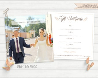 wedding gift certificate, photography gift certificate, gift certificate design, photography gift certificate template, elegant, simple